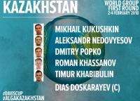 Сборная Казахстана объявила состав на матч Кубка Дэвиса со Швейцарией
