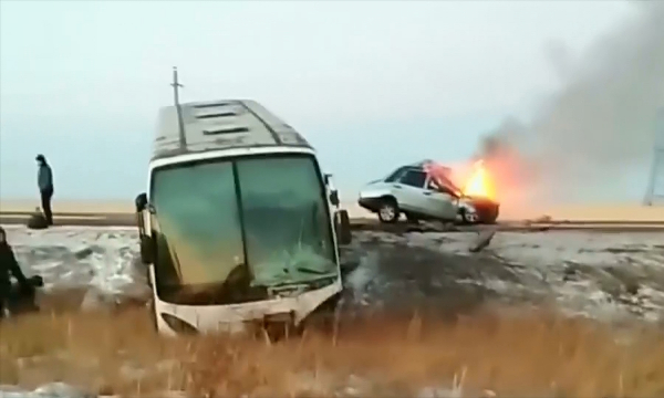СҚО-да жолаушылар мінген автобус апатқа ұшырады