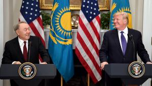 Нурсултан Назарбаев принял участие в брифинге для представителей СМИ по итогам переговоров с Д.Трампом