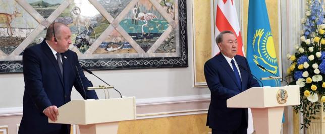 Состоялся брифинг для СМИ с участием Президентов Казахстана и Грузии