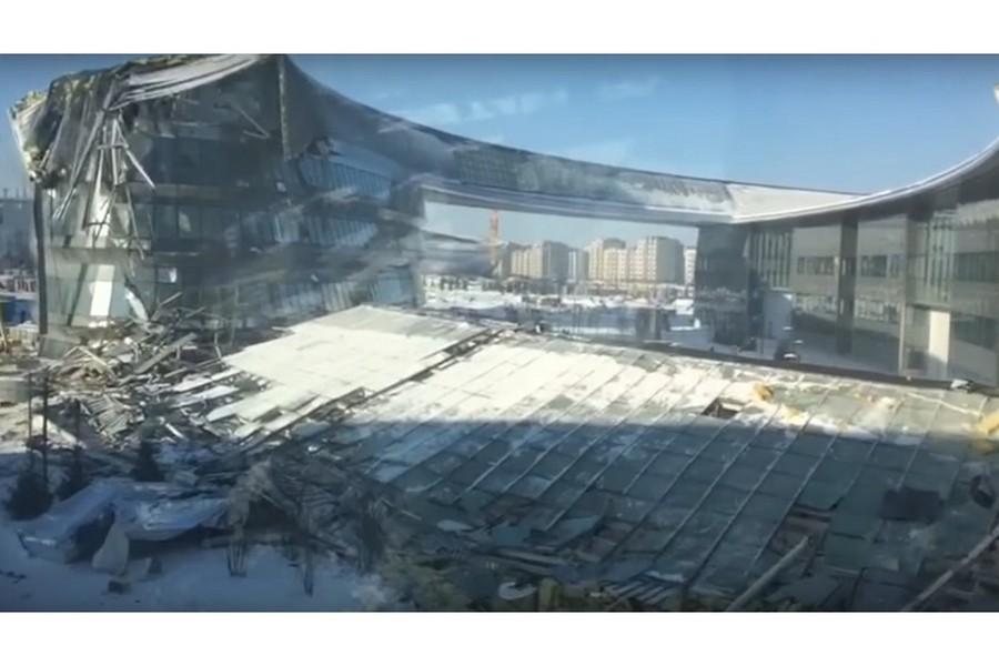 Астанадағы EXPO-2017 аумағында салынып жатқан ғимараттың бөлігі құлады